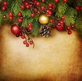 Tarjeta de la vendimia de la Navidad Fotografía de archivo