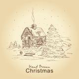 Tarjeta de la vendimia de la Navidad stock de ilustración