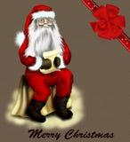 Tarjeta de la vendimia de la Navidad con el arqueamiento o fondo con Fotografía de archivo