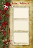 Tarjeta de la vendimia del saludo Año Nuevo de Christmas& Fotos de archivo libres de regalías