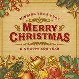 Tarjeta de la vendimia de la Feliz Navidad libre illustration
