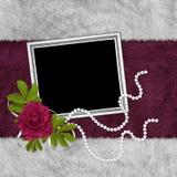 Tarjeta de la vendimia para el día de fiesta con la flor Imágenes de archivo libres de regalías