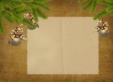 Tarjeta de la vendimia para el día de fiesta con las ramificaciones Fotografía de archivo libre de regalías