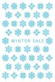Tarjeta de la venta del invierno con los cristales de la nieve stock de ilustración