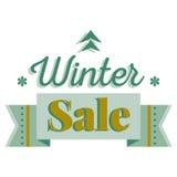 Tarjeta de la venta y del descuento, bandera, aviador Título de la venta del invierno Icono verde del árbol de pino, copos de nie Imágenes de archivo libres de regalías