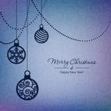 Tarjeta de las bolas de la Navidad Imagenes de archivo