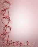 Tarjeta de las cintas de los corazones de la tarjeta del día de San Valentín Fotografía de archivo