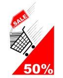 Tarjeta de las compras con la escritura de la etiqueta de la venta y la venta pecentual Imagen de archivo