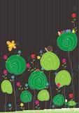 Tarjeta de las flores de los insectos Imagen de archivo libre de regalías