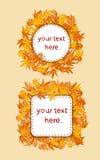 Tarjeta de las hojas de otoño Imagen de archivo