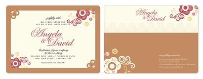 Tarjeta de las invitaciones de la boda Imagen de archivo libre de regalías