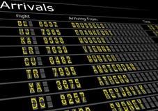 Tarjeta de las llegadas del aeropuerto Imagen de archivo