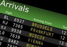 Tarjeta de las llegadas del aeropuerto Fotos de archivo libres de regalías