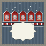 Tarjeta de las propiedades inmobiliarias con las casas escandinavas rojas y blancas Imagen de archivo libre de regalías