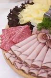 Tarjeta de las rebanadas del jamón y de la carne Fotografía de archivo libre de regalías