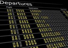 Tarjeta de las salidas del aeropuerto Foto de archivo libre de regalías