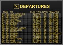 Tarjeta de las salidas del aeropuerto internacional Imagen de archivo libre de regalías