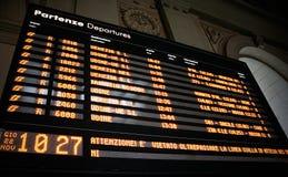Tarjeta de las salidas del tren Foto de archivo libre de regalías