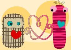 Tarjeta de las tarjetas del día de San Valentín de las muñecas de la tela de la conexión del amor Fotos de archivo