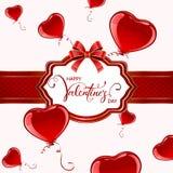 Tarjeta de las tarjetas del día de San Valentín con los globos rojos