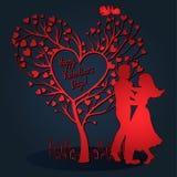 Tarjeta de las tarjetas del día de San Valentín de Greating con los pares del baile Foto de archivo