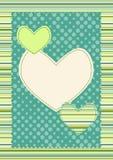 Tarjeta de las tarjetas del día de San Valentín de las rayas y de los corazones del lunar Fotografía de archivo libre de regalías