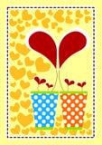 Tarjeta de las tarjetas del día de San Valentín de los floreros del corazón Imagen de archivo