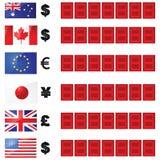 Tarjeta de las tasas de cambio Fotos de archivo