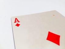 Tarjeta de las tejas/de los diamantes de Ace con el fondo blanco Foto de archivo libre de regalías