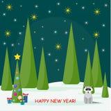 Tarjeta de las vacaciones de invierno con el spruse, mapache lindo y mucho cuesta brillante Foto de archivo libre de regalías