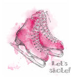 Tarjeta de las vacaciones de invierno de la acuarela con bosquejo de la historieta de los patines de hielo Ejemplo del drenaje de Foto de archivo libre de regalías