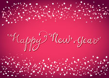 Tarjeta de letras de la Feliz Año Nuevo con nieve Foto de archivo