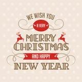 Tarjeta de letras de la Feliz Navidad Stock de ilustración