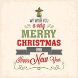 Tarjeta de letras de la Feliz Navidad Ilustración del Vector