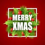 Tarjeta de letras de la Feliz Navidad con acebo Vector stock de ilustración