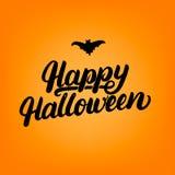 Tarjeta de letras escrita mano del feliz Halloween Foto de archivo libre de regalías