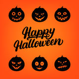 Tarjeta de letras escrita mano del feliz Halloween con el sistema de la calabaza de la linterna de 6 enchufes o Imagen de archivo libre de regalías