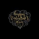 Tarjeta de letras feliz de día de las tarjetas del día de San Valentín stock de ilustración