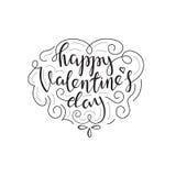 Tarjeta de letras feliz de día de las tarjetas del día de San Valentín ilustración del vector