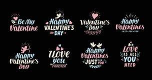 Tarjeta de letras feliz de día de las tarjetas del día de San Valentín Ejemplo de la etiqueta stock de ilustración