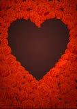 Tarjeta de letras feliz de día de las tarjetas del día de San Valentín Forma oscura del corazón en Rose Flowers Background Cartel Fotos de archivo libres de regalías