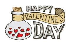 Tarjeta de letras feliz de día de las tarjetas del día de San Valentín Plantilla de la impresión de la postal libre illustration