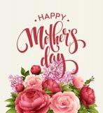 Tarjeta de letras feliz de día de madres Tarjeta de Greetimng con la flor Ilustración del vector stock de ilustración
