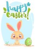 Tarjeta de letras feliz de Pascua con el conejo de conejito de la historieta Mano dibujada poniendo letras al cartel para Pascua  ilustración del vector