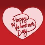 Tarjeta de letras feliz del día de la tarjeta del día de San Valentín, ejemplo del vector Fotos de archivo