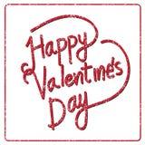 Tarjeta de letras feliz del día de la tarjeta del día de San Valentín, ejemplo del vector Foto de archivo
