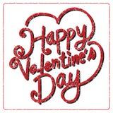 Tarjeta de letras feliz del día de la tarjeta del día de San Valentín, ejemplo del vector Imagen de archivo