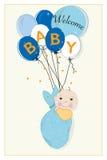 Tarjeta de llegada colgante del bebé de la envoltura con los globos Fotografía de archivo libre de regalías