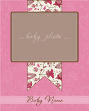 Tarjeta de llegada del bebé con el marco de la foto Imagenes de archivo