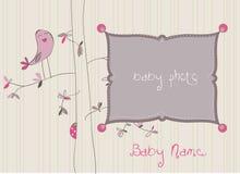 Tarjeta de llegada del bebé con el marco de la foto Foto de archivo libre de regalías